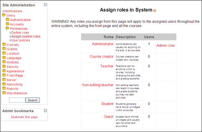 Assign Course Creater Role in Moodle