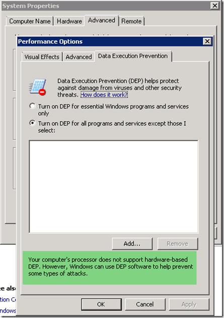 Data Execution Prevention, Hyper V Settup