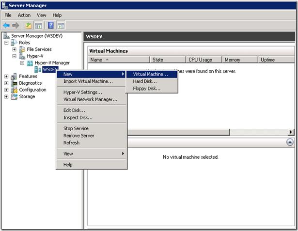 Create a Virtual Machine in HyperV