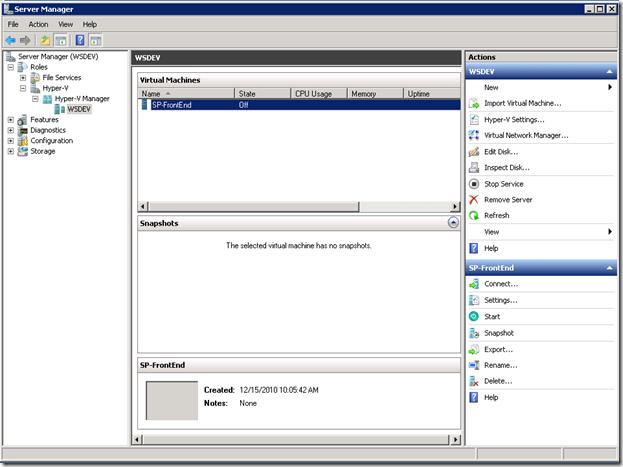 Starting HyperV machine and install SharePoint
