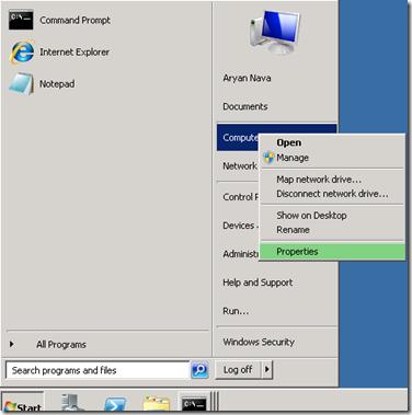 Windows 2008R2 System Properties