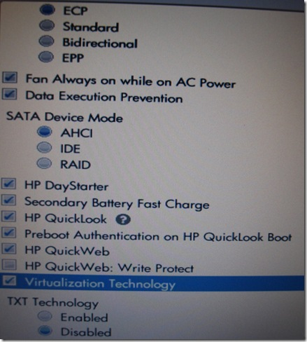 Enable Virtualization Technology, HP