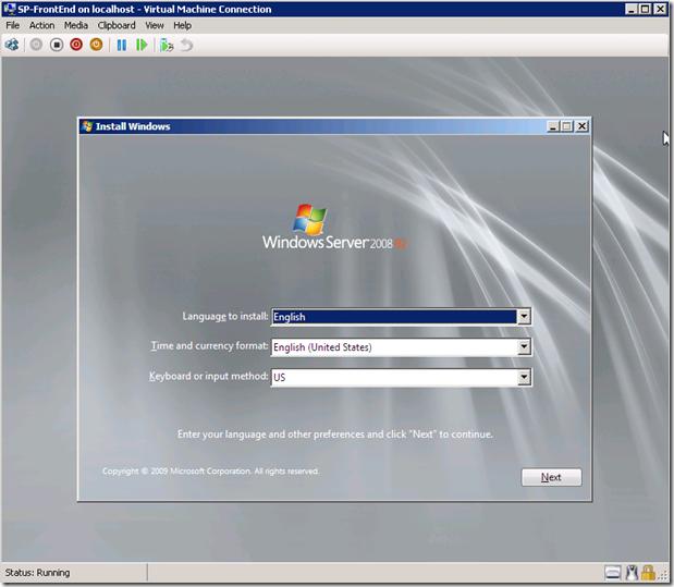 Windows 2008R Installation