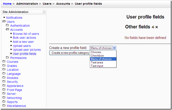 Custom Profile Filed in Moodle