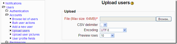 Upload Users to Moodle