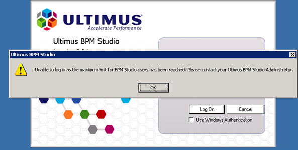 Maximum Limit for BPM Studio users has been reached in Ultimus