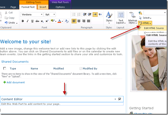 Hide Quick Launch in SharePoint 2010, Edit HTML