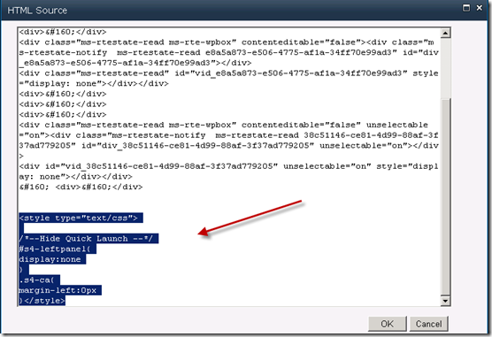 Hide Quick Launch in SharePoint 2010