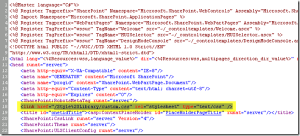 Custom CSS to SharePoint 2010 Master Page