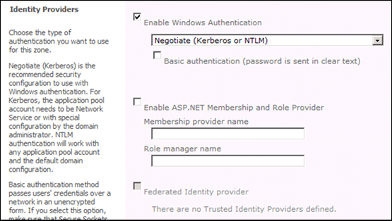 SharePoint 2010 Identity Providers: