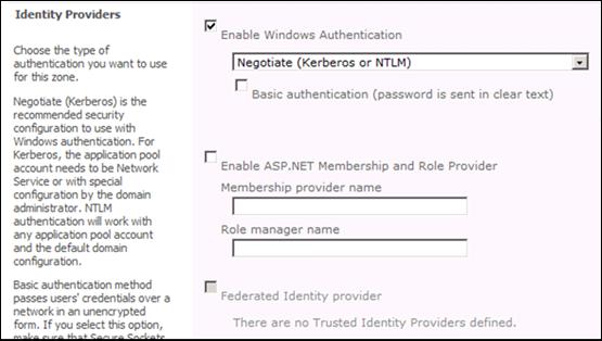 SharePoint 2010 Identity Providers: