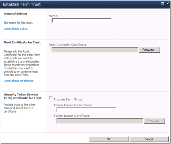 Establish Farm Trust in SharePoint 2010