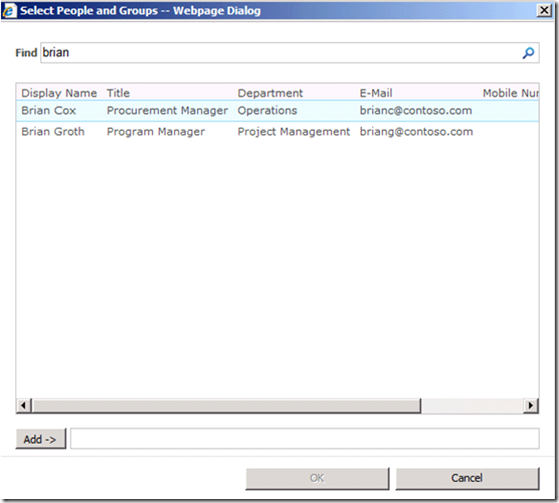 Select People and Group in SharePoint 2010