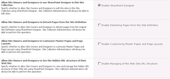 To Restrict SharePoint Designer Access In SharePoint 2010 - Step 3