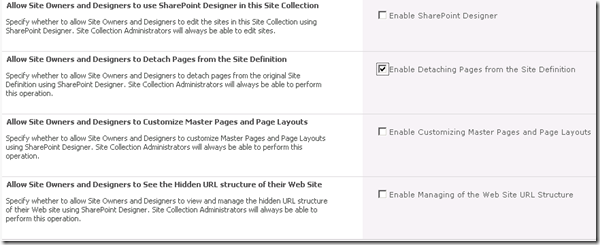 SharePoint Deisgner 2010 to detach pages from the site definition