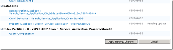 Apply Topology Changes to change SharePoint 2010 GUID for Search Service Application PropertyStoreDB