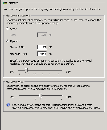 Dynamic Memory Management in HyperV