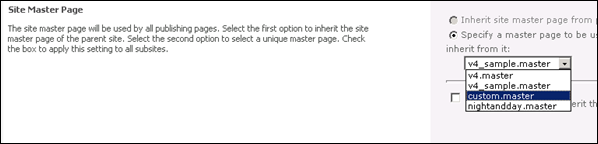 Selecting Custom Master Pages in SharePoint 2010