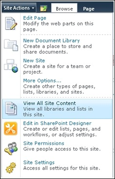 View All Site Contents to see folders in SharePoint 2010