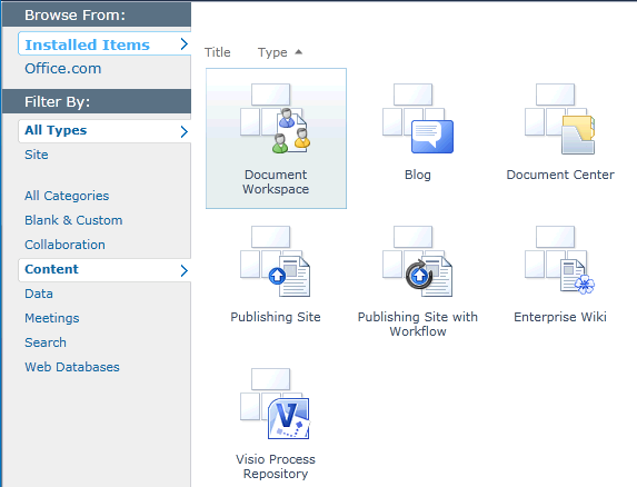 site templates sharepoint 2010