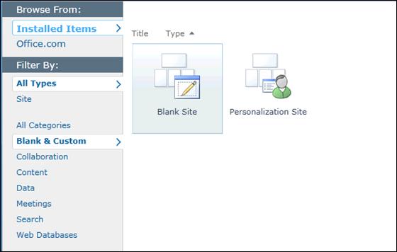 SharePoint 2010 Blank & Custom Sites