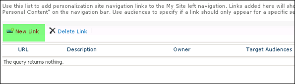 Personalization site navigation links to the My Site SharePoint 2010