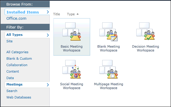 SharePoint 2010 Meetings Sites