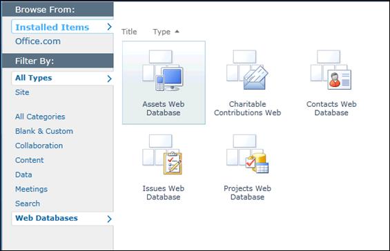 SharePoint 2010 Web Database Sites