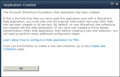 Setting up MySite in SharePoint 2010 - Application Created