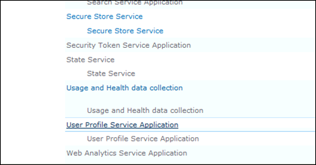 User Profile Service Application to Setup MySite
