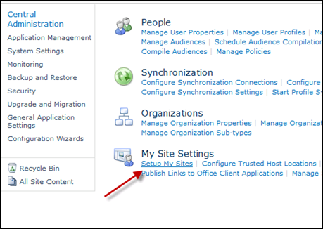 Setup My Sites for SharePoint 2010