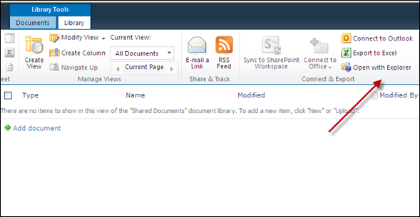 Explorer View in SharePoint 2010 document library