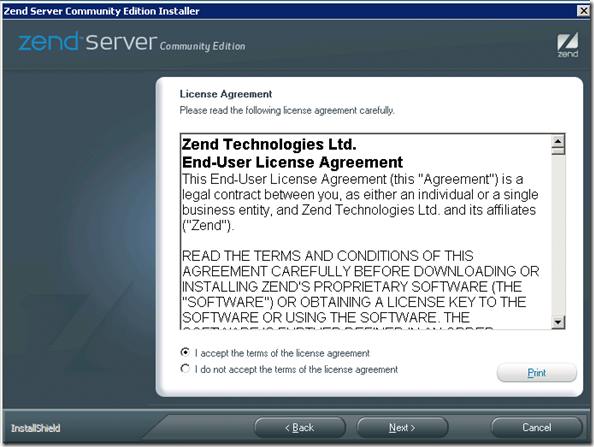 Zend Server Installation: Licence Agreement