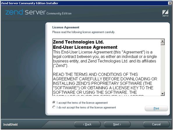 Zend Server Installation: Licence Agreement