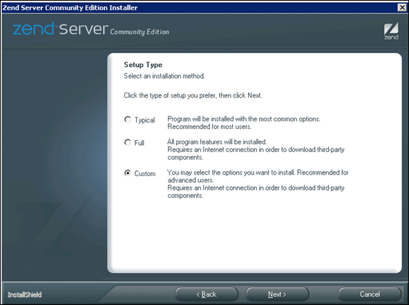 Custom Zend Server Installation in Windows Server