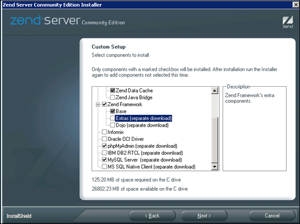 Custom installation with phpMyAdmin and MySQL Server