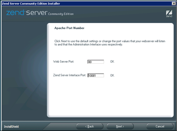 Default Port for Apache in Windows Server