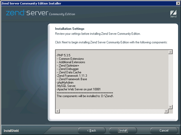 Installation Settings Summary for Zend Server
