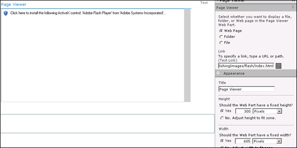 INSERT A FLASH FILE INTO SHAREPOINT 2010 PAGES