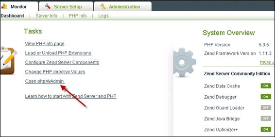 phpMyAdmin in Zend Server