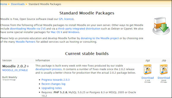 Download Standard Moodle Packages