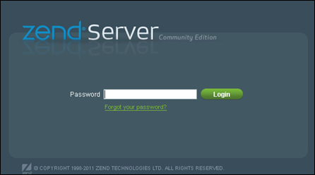 Enter password for Zend Server