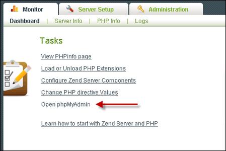 Open phpMyAdmin in Zend Server