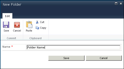 Creating new folder in SharePoint 2010