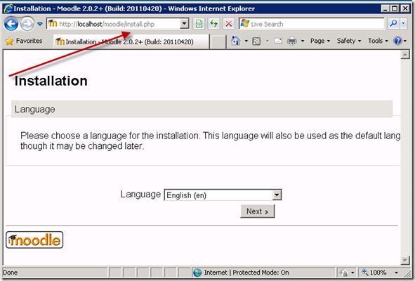 Moodle in Windows 2008 Server using Zend