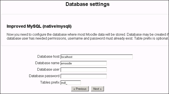 Moodle 2.0 database settings