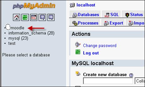 Moodle Database in phpMyAdmin