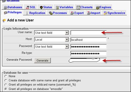 Adding new user in phpMyAdmin