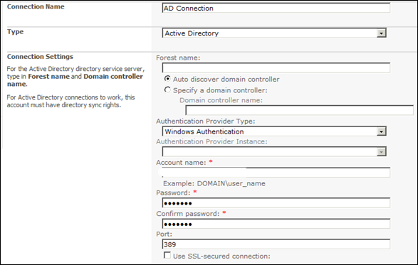 Importing User profile to SharePoint 2010 - Connection Settings