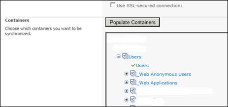 Importing User profile to SharePoint 2010 - Select Containers
